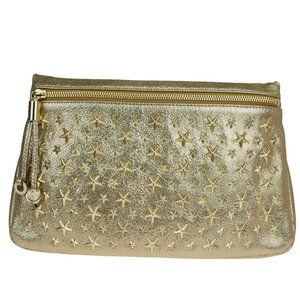 JIMMY CHOO Star Studded Clutch Hand Bag Leather Go